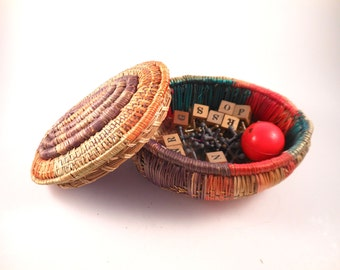 Handmade Colorful Small Basket With Lid with Surprise