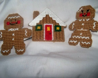 Gingerbread House And Boy /Girl Ornaments /  Magnets Set