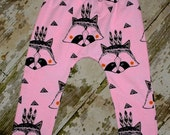 Toddler infant baby Harem Pants, organic cotton, PINK RACCOON Design, baby leggings geometric fox 6 styles boys girls unisex harem pants