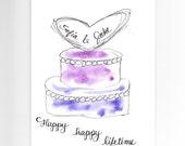 Wedding Card PERSONALIZED for FREE Custom Wedding Cake Card Original Watercolor Card for Bride & Groom Contemporary Elegant 2-Tiered Cake