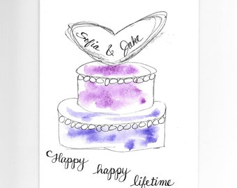 Wedding Card PERSONALIZED for FREE With Names and the Date, Custom Wedding Cake Card Original Watercolor Card Contemporary Elegant Cake Card