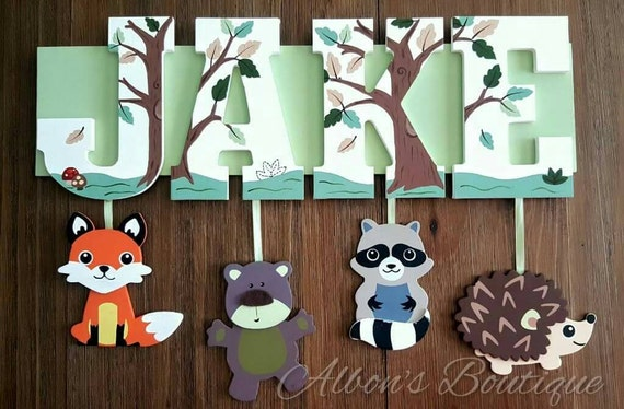 4 LETTER name - Any Theme-Painted Wooden Hanging Name Sign, Zoo, Princess, safari, sports, mickey,