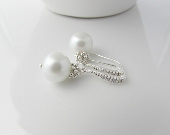 Pearl Earrings, Bridesmaid Gifts, Pearl Rhinestone Earrings, Bridesmaid Earrings, British Seller UK, Mom Gifts, Mother of the Bride, For Sis