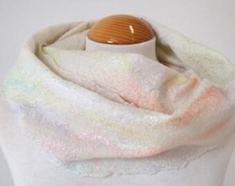 Hand Dyed Nuno Felt Scarf, Cream with Soft Pastels