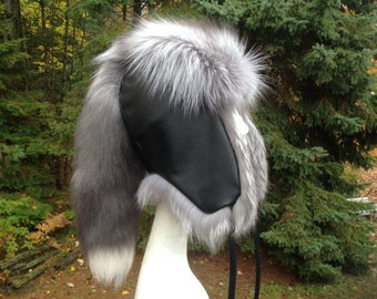 Custom Grey Pearl Fox Alaskan Hat with Removeable Tail-Made To Order P-002