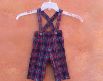 Vintage Baby Infant Red White Blue Green Plaid Overalls Jumper Romper Overalls Pants. 12 Months