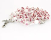 """Pretty  """"Roses"""" Catholic Rosary Beads, Lampwork Glass, White & Pink"""