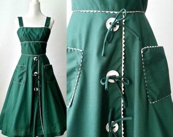 Vintage Dress, 1950s Dress, Green Vintage Dress, Vintage Sundress, 50s Green Dress, Retro 50s Dress, Rockabilly Dress, Green Cotton Dress