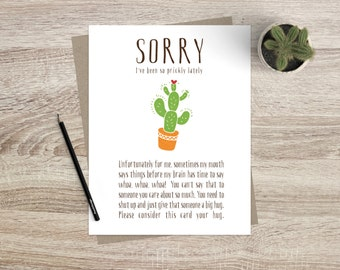 I'm Sorry Greeting Card Funny Greeting Card Prickly Cactus Succulent Card Friendship Forgive Me Apology Greeting Card Cute Funny Card