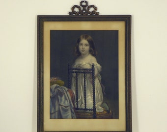 Victorian Hand-colored Lithograph/Child/ Period Decorative Frame