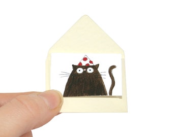 Cat Birthday Card, Black Cat Miniature Card and Tiny Envelope, Greeting Card for The Cat, Cat Birthday Card for Cat Lover, Poosac