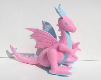 Cotton Candy Dragon Fantasy Plush, Wool Felt ~ Handmade Natural Stuffed Animal Toy, Eco Friendly Kids Gift, Waldorf, Girls Pink Dragon Toy
