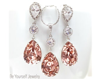 Blush Wedding Jewelry Soft Pink Teardrop Bridal Earring Pastel Bride Necklace Swarovski Crystal Vintage Rose Wedding Earring Bridesmaid Gift