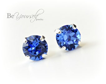 Sapphire Bridal Studs Blue Bride Earrings Delicate 8mm Swarovski Crystal Navy Solitaire Studs Bridesmaid Gift Wedding Jewelry Something Blue