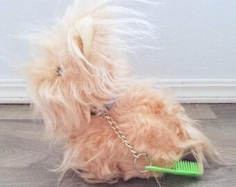 Vintage Plush Radio Dog Fuzzy Hair Terrier Scottie Battery Operated With Brush Works Kitsch