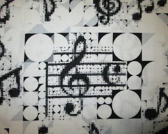 Mod Music Notes Circles Black White Cotton Fabric Fat Quarter or Custom Listing