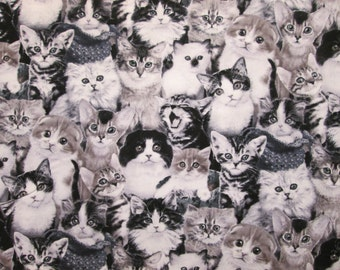 Realistic Cats Black White Cat Kitty Cotton Fabric Fat Quarter or Custom Listing