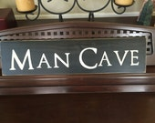 The MAN CAVE Sign Basement Poker Game Room Hideaway Shed Room Decor Wall Sign Plaque Rustic Hand Painted Wooden U Pick Colors