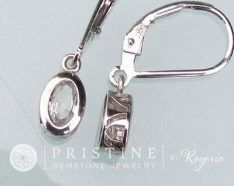 White Sapphire Dangle Earrings in 14k Gold Filigree Lever Back Design