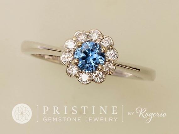 Blue Sapphire Engagement Ring Flower Design Gemstone Engagement Ring Weddings Anniversary