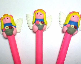 New Cute Handmade Polymer Clay Writing Fimo Pen Angel Flowers