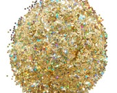 Gold SOLVENT RESISTANT HOLOGRAPHIC Glitter 0.062 Hex - 1 Fl. Ounce for Glitter Nail Art, Glitter Nail Polish and Glitter Crafts