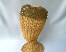 Vintage Ladies Halo Hat Evelyn Varon Gold Beaded Netting