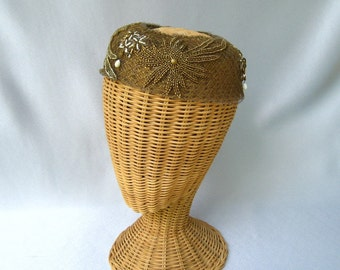 Vintage Ladies Halo Hat Evelyn Varon Gold Beaded Netting