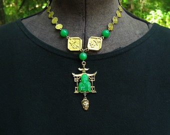 Vintage Asian Pendant Necklace Buddha Pagoda Calligraphy Green Plastic Beads Gold Tone Disc Chain