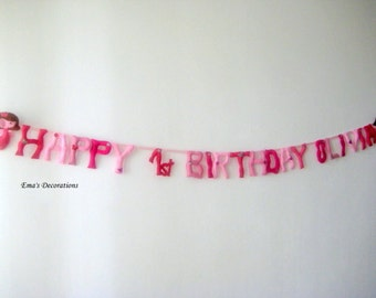 First Happy Birthday Banner, Pink Rose Blush Fairy Party, Pink Candy Bar Sign