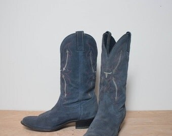 40% Off Sale 7.5 M | Laredo Blue Suede Western Boots with Pink Wester Stitch & Longhorn Emblem