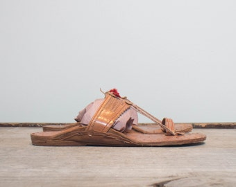 8 | Men's Ethnic Leather Sandals Bohemian Summer Flats with Tooled Details