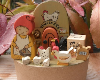Wood TOY PLAY SET Gnome Farmer Girl-Chickens In Oval Box Waldorf Inspired