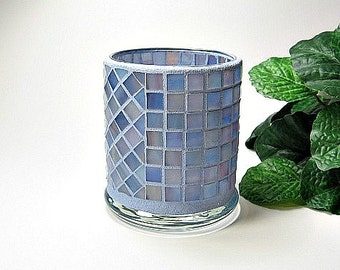 Stained glass mosaic votive candle holder light blue amber pink handmade