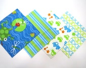 """48 Cotton Flannel 6""""x6"""" Quilt Squares in Fun Frogs, Cars and Trucks, and Matching Prints"""