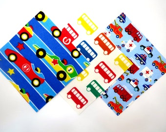 """36 Cotton Flannel 6""""x6"""" Pre Cut Quilt Squares in Fun Race Cars, Primary Buses and Emergency Vehicles Prints"""