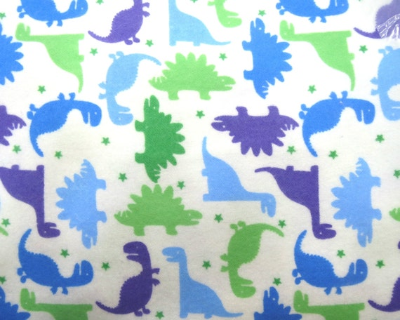Flannel fabric by the yard in a fun blue green and by for Purple dinosaur fabric