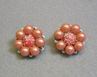 Vintage Light Coral Beaded Clip Earrings, Marvella