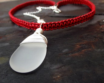 Red Leather Necklace:  White Sea Glass Silver Wire Wrapped Adjustable Choker Necklace, Valentines Day Love Heart Jewelry, Gift for Her