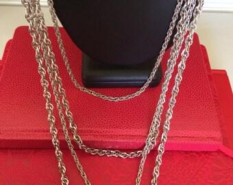 Trifari Multilayered Bright Silver Glitter Chain Long Swag Chain Necklace