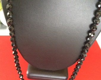 Be Basic Long Vintage Faceted Black Individually Tied Bead Necklace