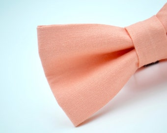 Mens Bow Tie in  Solid Peach, Adjustable Bow Tie, Wedding Bow Tie, Peach Bow Tie, Groomsmen Bow Ties, Bowties By AmandaJoHandmade on Etsy