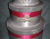 Wedding Card Box/ money card holder/fuchsia wedding /rhinestone card box/ bling wedding/gift table