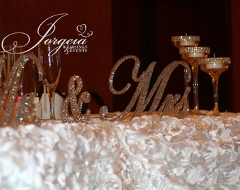 Crystal Mr. & Mrs. Sign, Wedding sign, Head table decor, Bling Wedding, Bridal shower gift, wedding gift