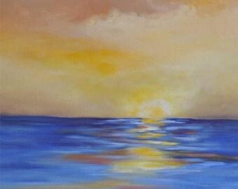 Beach Painting, ocean art, california painting, beach art, landscape, sky blue, gold, mustard, olive green