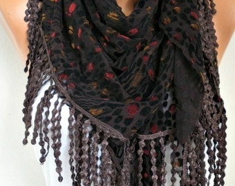 ON SALE - Brown & Black Tulle Velvet Scarf, Shawl,Fall Scarf,Cowl Scarf,Gift Ideas For Her, Women Fashion Accessories, Teacher gift,fatwoman