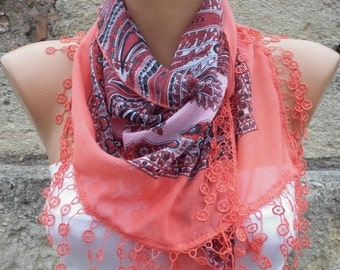 Coral Cotton Scarf Christmas Gift Necklace Cowl Gift Ideas For Her Women's Fashion Accessories