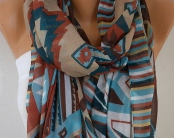 Southwestern Scarf Fall Fashion Bohemian Scarf Aztec Scarf Tribal Scarf Shawl Cotton Scarf Gift Ideas For Her  Women Fashion Accessories
