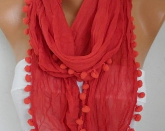 ON SALE - Red Pompom Scarf, Shawl,Spring Summer Scarf Easter Cowl Gift Ideas For Her Women Fashion Accessories