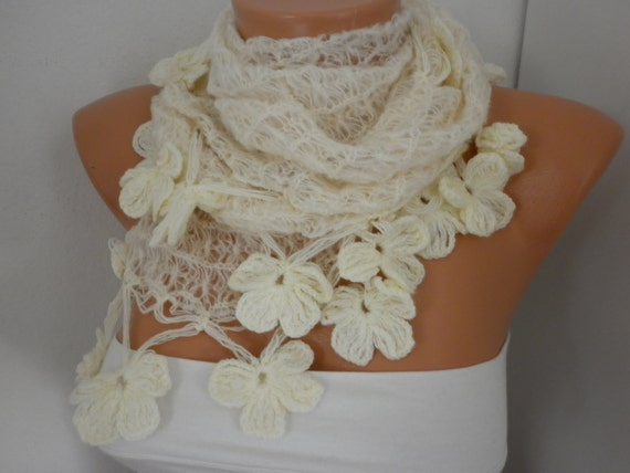 Creamy White Knitted Scarf,Wedding Shawl,Bridal Scarf,Bridal Accessories,Bridesmaid Gift, Cowl, Gift Ideas for her,Women Fashion Accessories